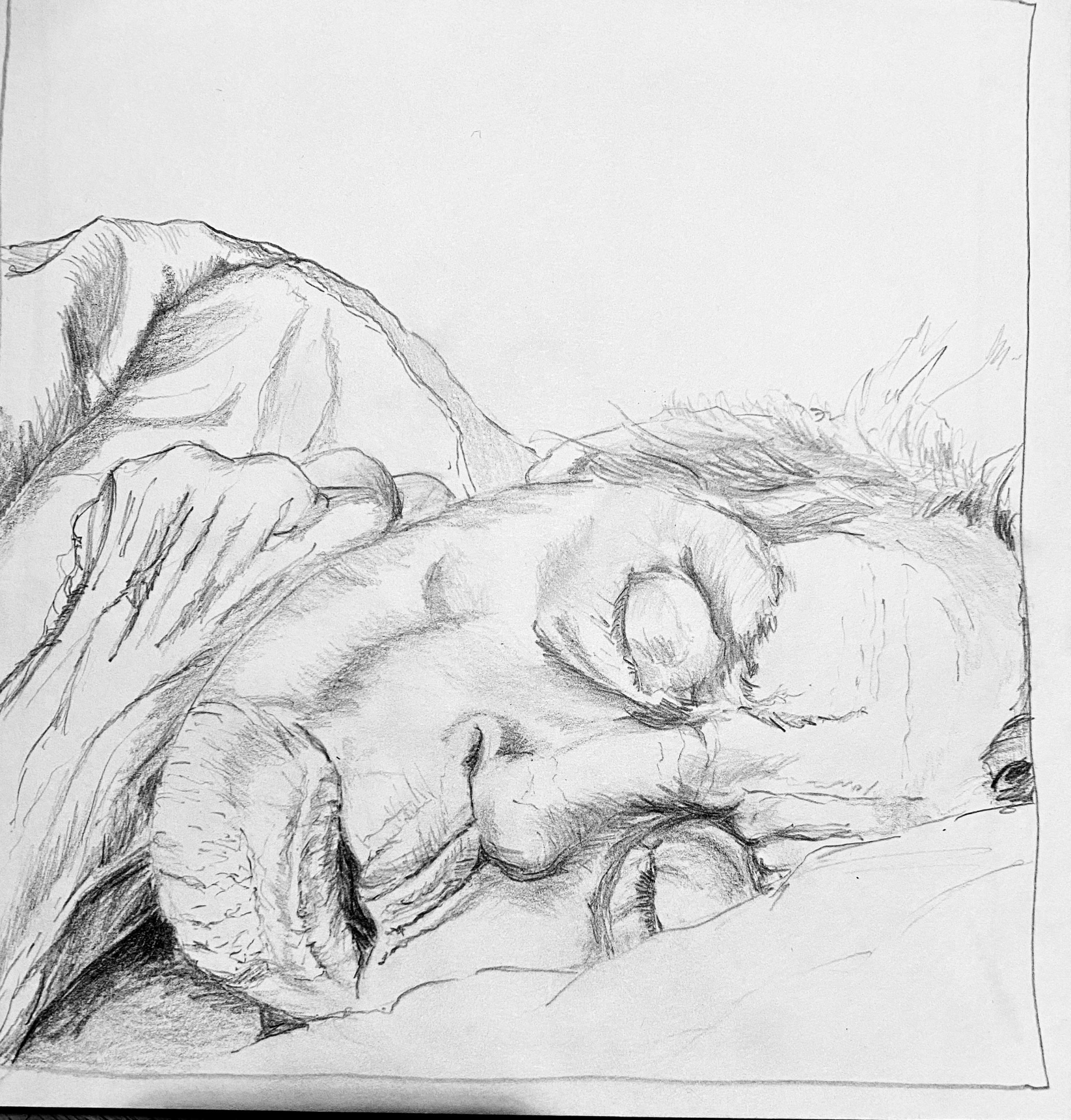 Mama was een boom. Potloodtekening. Oude vrouw slapend in bed. Illustratie